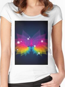 colorful abstract on butterfly shape Women's Fitted Scoop T-Shirt