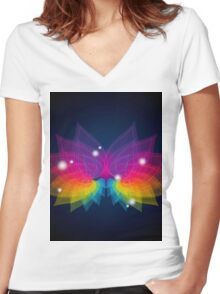 colorful abstract on butterfly shape Women's Fitted V-Neck T-Shirt