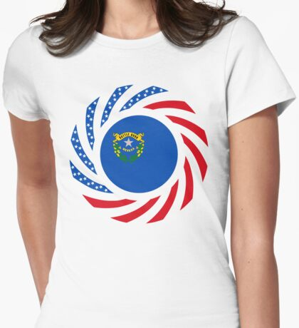 Nevadan Murican Patriot Flag Series Womens Fitted T-Shirt
