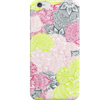 Bright neon yellow henna floral paisley mandala pattern  iPhone Case/Skin