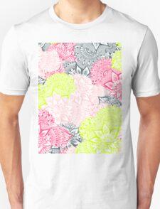 Bright neon yellow henna floral paisley mandala pattern  Unisex T-Shirt