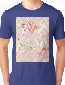 Pastel watercolor floral pink gold chevron pattern Unisex T-Shirt