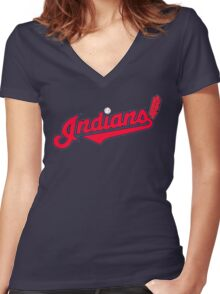 INDIANS BASEBALL TEAM Women's Fitted V-Neck T-Shirt