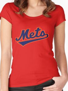 NY METS SIMPLE LOGO Women's Fitted Scoop T-Shirt