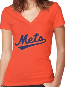 NY METS SIMPLE LOGO Women's Fitted V-Neck T-Shirt
