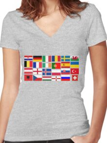2016 Football country flags pattern Women's Fitted V-Neck T-Shirt