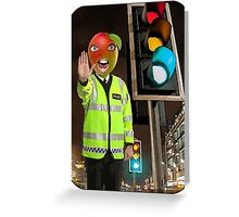 Mango Head Traffic Cop Greeting Card