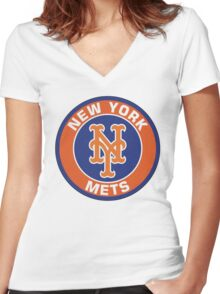 NEW YORK METS LOGO Women's Fitted V-Neck T-Shirt