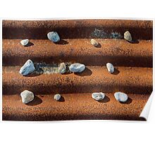 Pebbles on Rust Poster