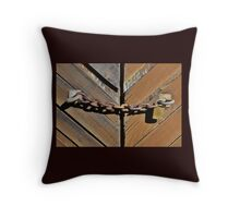 Old Chain on Old Doors Throw Pillow