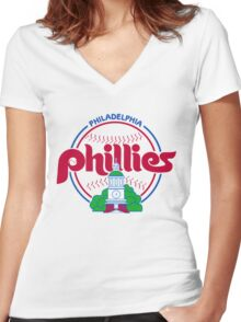 PHILIES LOGO Women's Fitted V-Neck T-Shirt