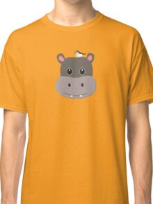 cute hippo with bird Classic T-Shirt