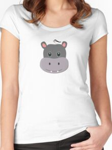 cute hippo with bird Women's Fitted Scoop T-Shirt