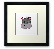 cute hippo with bird Framed Print