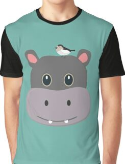 cute hippo with bird Graphic T-Shirt