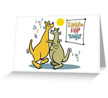 Cartoon of two kangaroos dancing together at disco Greeting Card