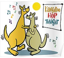 Cartoon of two kangaroos dancing together at disco Poster