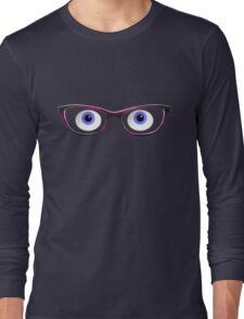 Blue Cartoon Eyes With Ladies Glasses Long Sleeve T-Shirt