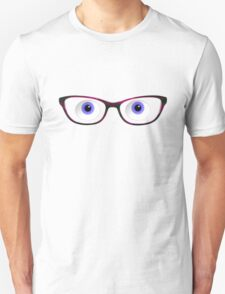 Blue Cartoon Eyes With Ladies Glasses Unisex T-Shirt