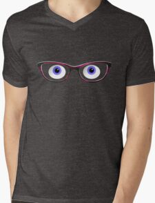 Blue Cartoon Eyes With Ladies Glasses Mens V-Neck T-Shirt