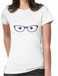 Blue Cartoon Eyes With Ladies Glasses Womens Fitted T-Shirt
