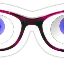 Blue Cartoon Eyes With Ladies Glasses Sticker