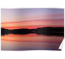 Serene view of calm lake and tree silhouettes Poster