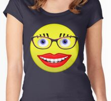 Smiley Female With Glasses and a Big Smile Women's Fitted Scoop T-Shirt