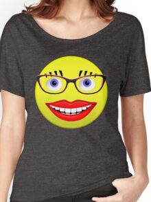 Smiley Female With Glasses and a Big Smile Women's Relaxed Fit T-Shirt