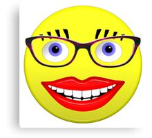 Smiley Female With Glasses and a Big Smile Canvas Print