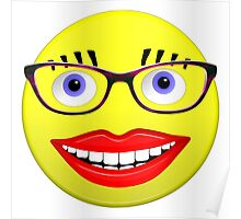 Smiley Female With Glasses and a Big Smile Poster