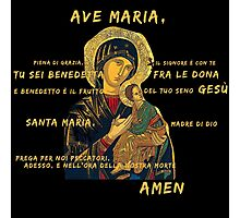 Ave Maria Virgen Mary Santa Gold Preghiera Pray Photographic Print