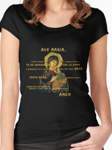 Ave Maria Virgen Mary Santa Gold Preghiera Pray Women's Fitted Scoop T-Shirt