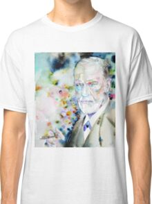 SIGMUND FREUD - watercolor portrait.9 Classic T-Shirt
