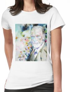 SIGMUND FREUD - watercolor portrait.9 Womens Fitted T-Shirt