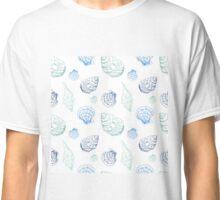 Hand drawn seashells in blue colors Classic T-Shirt