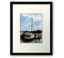 Docked Cabin Cruiser Framed Print