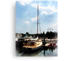 Docked Cabin Cruiser Canvas Print