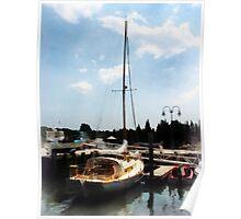 Docked Cabin Cruiser Poster