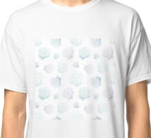 Sketchy hand drawn seashells in blue colors Classic T-Shirt