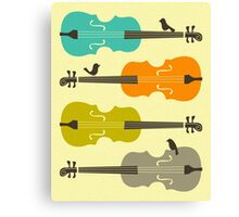 BIRDS ON CELLO STRINGs Canvas Print