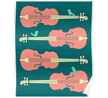 Birds on Cello Strings by Jazzberry Blue Poster
