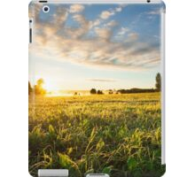 Tranquil grassland and trees at sunrise iPad Case/Skin