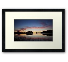 Beautiful clouds and lake landscape after sunset Framed Print