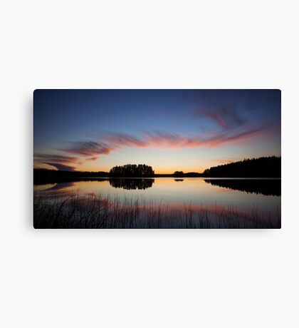 Beautiful clouds and lake landscape after sunset Canvas Print