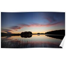 Beautiful clouds and lake landscape after sunset Poster