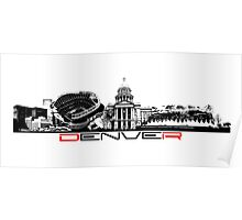 Denver skyline city black Poster