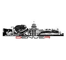 Denver skyline city black Photographic Print