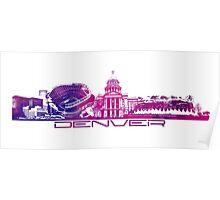 Denver skyline city purple Poster