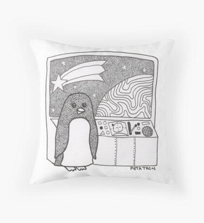 Space Penguin Throw Pillow